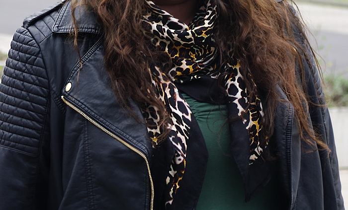 630: Biker jacket with the green dress