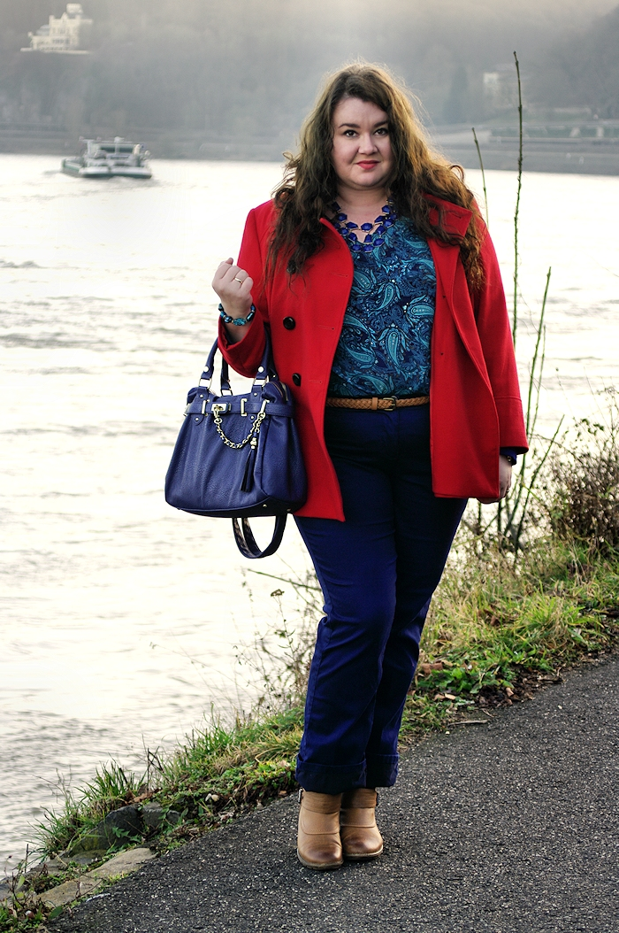 Große Größen Plus Size Fashion Blog steve madden bag red coat