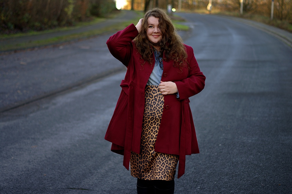 Leopard skirt with a burgundy coat