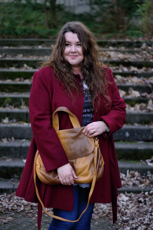 Große Größen Plus Size Fashion Blog kik textilien asos curve burgundy coat