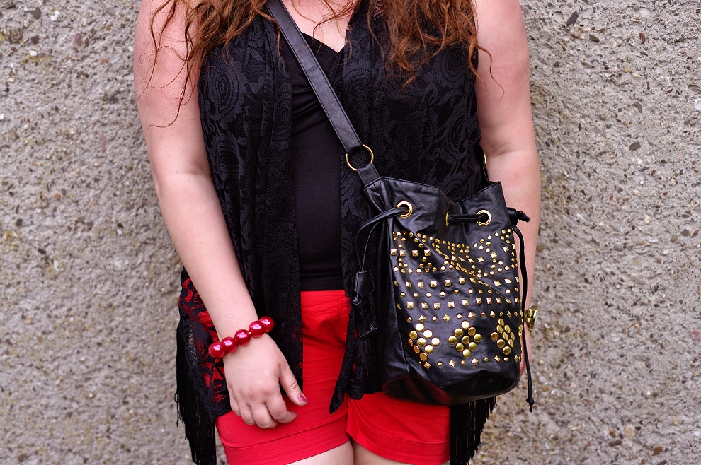 Red plus size shorts