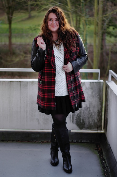 Große Größen Plus Size Fashion Blogg missguided plaid jacket jilsen