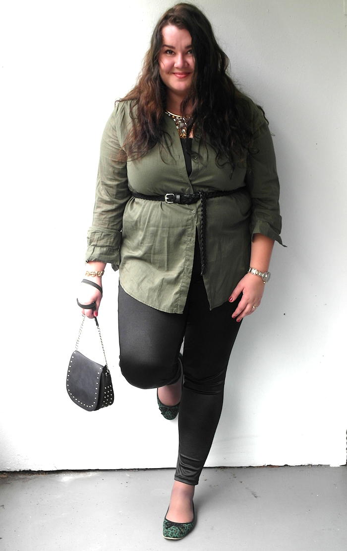 Khaki shirt with statement necklace