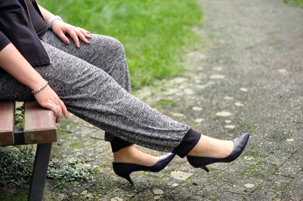 Sweatpants with heels